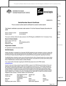 Sample PPSR Certificate